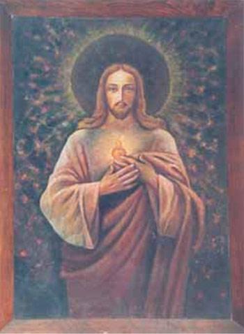 Obraz namalowany w dzień po wyzwoleniu przez ks. inf. Władysława Sarnika